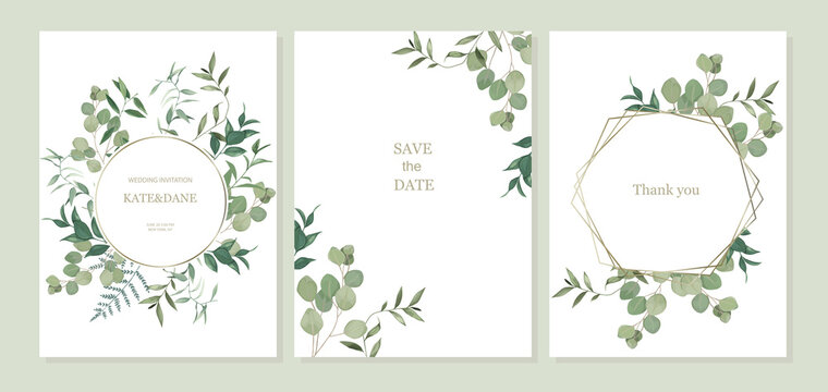 Set of floral card with eucalyptus leaves. Greenery frame. Rustic style. For wedding, birthday, party, save the date. Vector illustration. Watercolor style