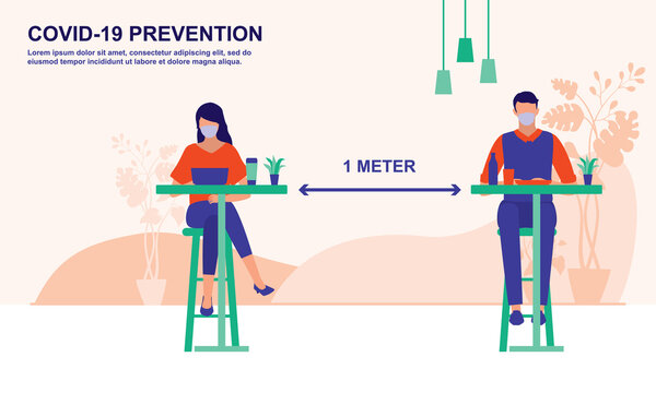 Diners Wear Protective Face Mask While At Post-Pandemic Restaurant. Social Distancing And COVID-19 Coronavirus Outbreak Prevention Concept. Vector Flat Cartoon Illustration.