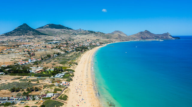 Aerial view of Porto Santo island island beach