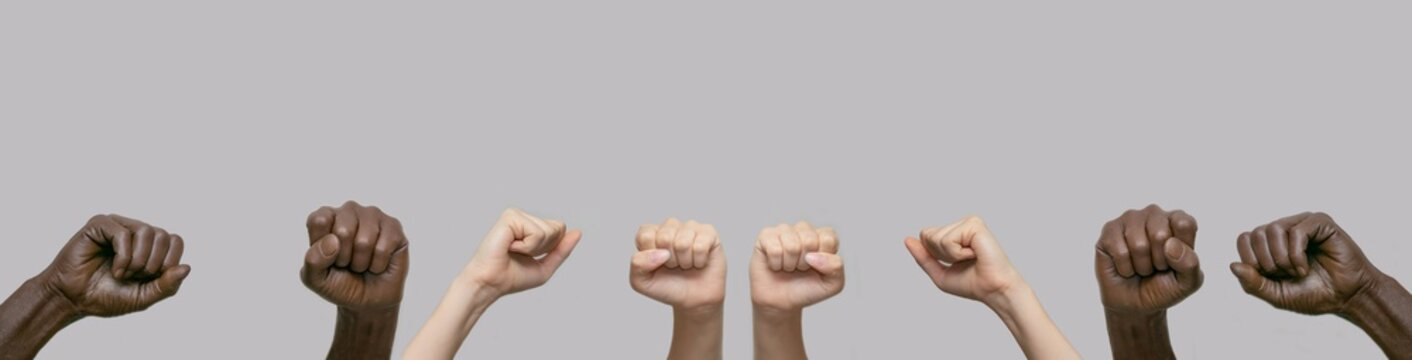 Two pairs of black and two pairs of white human hands, fists raised in the air against a gray isolated background. Close-up, banner, copy space. The concept of protest, violence and struggle