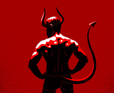 Devil muscular strong man with horns and tail from back view vector illustration, powerful demon, the evil is strong, animal part of human nature, inner beast.