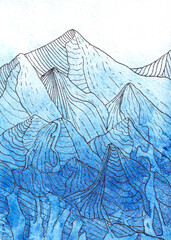 watercolor background in blue and blue with a gradient. Graphic drawing mountains line art. Hand drawing