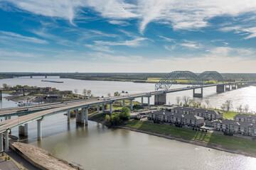 Cityscape of Memphis. Mississippi river and Hernando de Soto Bridge. Tennessee