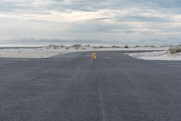 Empty Road in Pensacola Beach, Florida. Gulf of Mexico in Background