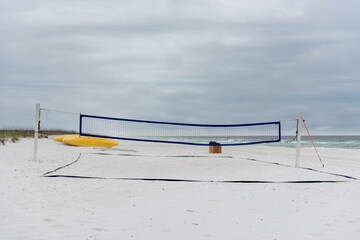 Empty Volleyball field in Pensacola Beach, Gulf of Mexico in bac