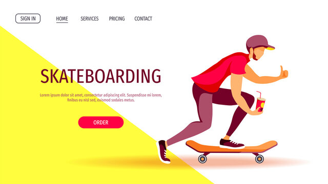 Web page design for Skateboarding, Sport, Youth, Summer, Active lifestyle, Leisure. Young man on skateboard with cup. Vector illustration for poster, banner, website.