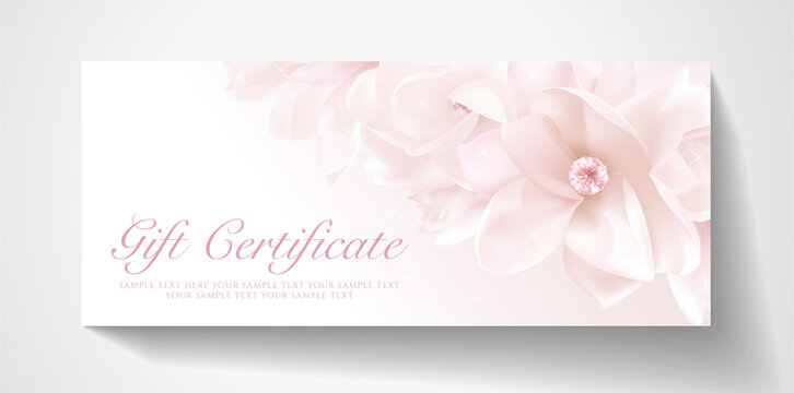 Gift certificate, Voucher with realistic pink magnolia flower bouquet. Blank background template useful for wedding design, 8 March invitation card or coupon, funeral thank you card