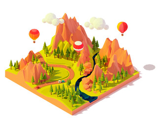 Vector isometric hot air balloon rides. Hot air balloons flying over mountains, valley and river. Colorful balloons excursion tour. Tourist flights