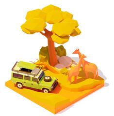Vector isometric Africa safari adventures illustration. Off-road car with tourists in African savanna watching wild animals. Baobab tree and couple of wild giraffes near safari vehicle