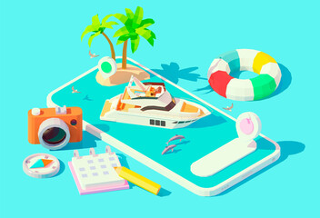 Vector isometric modern motor yacht in blue water on the smartphone screen. Yacht booking app. Boat rental mobile application. Modern luxury yacht sailing on phone screen, tropical island with palms