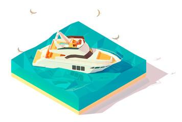 Vector isometric modern motor yacht in blue water. Modern luxury motor yacht sailing on blue waves of sea