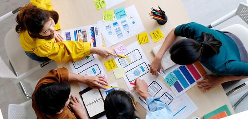 Brainstorm planing creative asian teamwork, Group of asia mobile phone app developer team meeting...