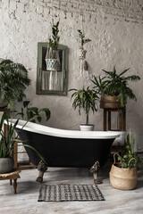 Elegant bathroom with stylish interior design, modern bath