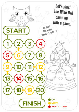 Printable. Coloring adventure board game for children. Wise Owl and princess. A4 format.