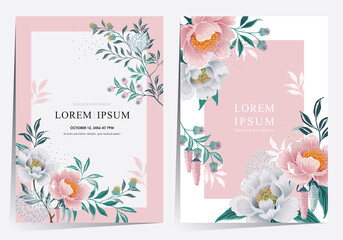 Wall Mural - Vector illustration of a beatiful floral frame set for Wedding, anniversary, birthday and party. Design for banner, poster, card, invitation and scrapbook
