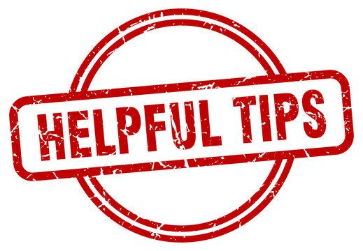 helpful tips grunge stamp. helpful tips round vintage stamp