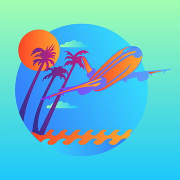 Vector island trendy and modern for travel symbol. Plane flying over the waves and tropical island. Vector illustration