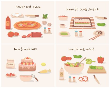 How to cook a tasty traditional vegetables pizza, cake, sushi and salad with kitchen utensils, ingredients.