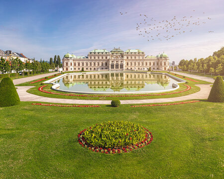 Baroque park of Belvedere Palace Vienna at a sunny day