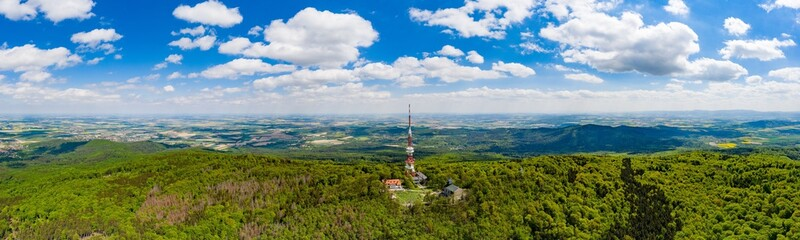 Aerial drone view on Sleza mountain with tv tower on top.