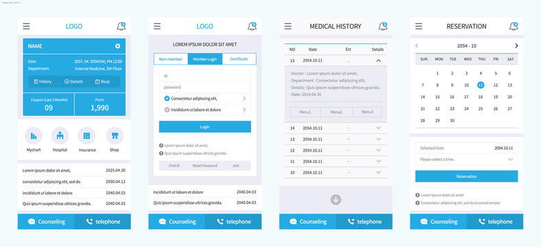 Medical Mobile Template for Hospital Reservation, Personal Data Inquiry