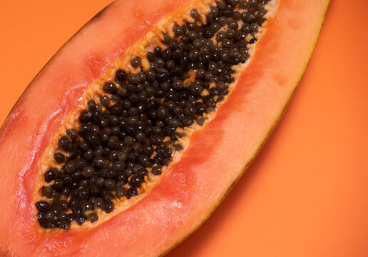 Detail of a papaya