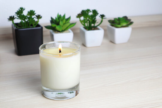 aromatic scent glass candles and small cactus in the pot are displayed on the table in the bedroom