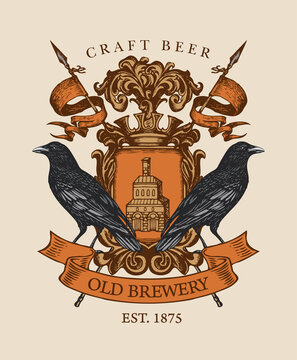 Old brewery coat of arms in vintage style. Suitable for pubs, bars and breweries design. Vector heraldic Coat of arms with ravens, crown, spears, ribbon and knightly shield. Hand-drawn illustration