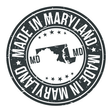 Made in Maryland State USA Quality Original Stamp Design Vector Art Tourism Souvenir Round