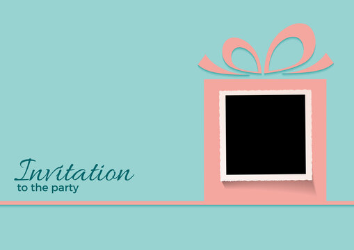 A gift for your happy birthday. Invitation to the party with empty photo inside a gift. Picture to insert. Vector pink box on bluemarine background