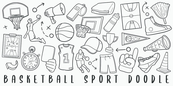 Basketball Sport Doodle Line Art Illustration. Hand Drawn Vector Clip Art. Banner Set Logos.