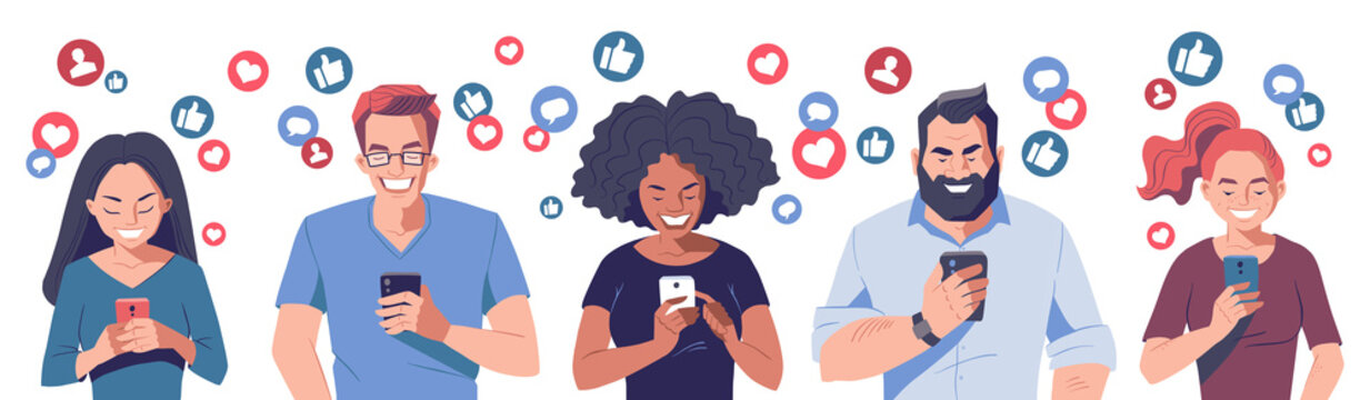 Diverse group of young people with smartphones. Getting likes in social media concept banner. Like buttons, messages and followers icons. Cartoon character, vector illustration.
