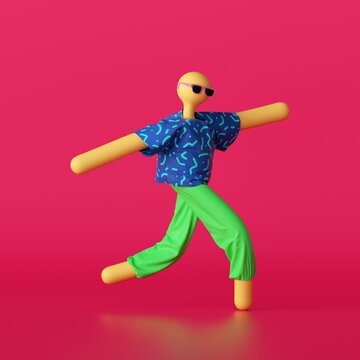 3d render, abstract cartoon character wearing colorful summer clothes and sunglasses isolated on red background. Toy without face. Funny dancing dummy doll, modern minimal design. Pop art style