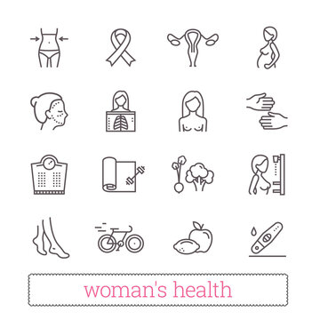 Woman's health thin line icons. Medicine, women's beauty, active lifestyle, healthy diet, breast cancer awareness symbols. Modern vector clip part illustration isolated on white background.