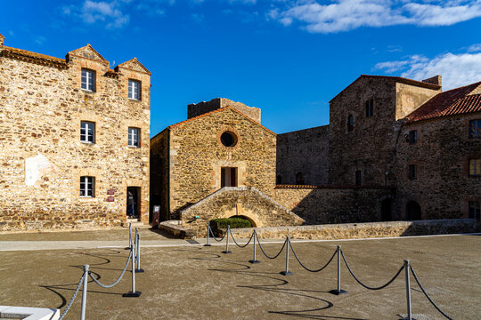 Old town of Argeles sur Mer France, a popular resort town on Mediterranean sea.