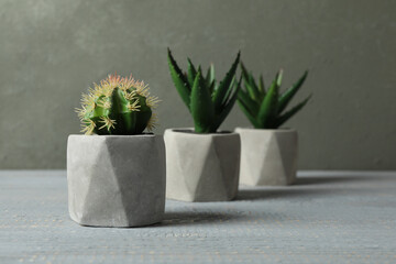 Poster Plant Artificial plants in ceramic flower pots on grey wooden table