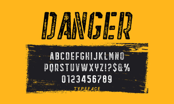 Stencil sans serif font. Typeface design for titles and signs. Letters with shabby texture.
