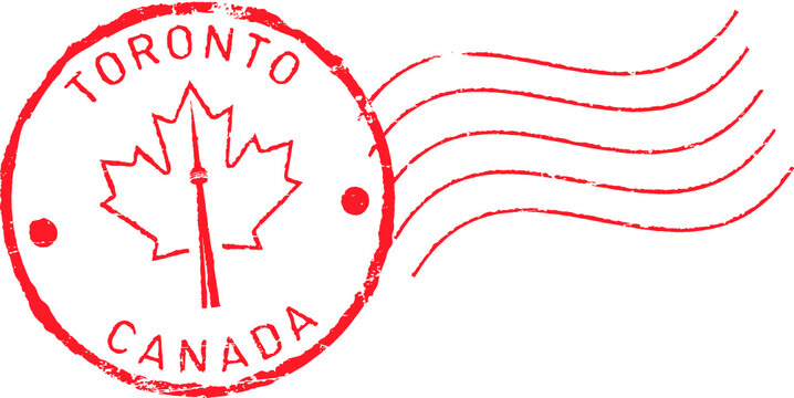 Postal grunge stamp 'Toronto - Canada'. CN tower and maple leaf.