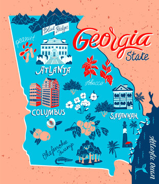 Illustrated map of Georgia, USA. Travel and attractions
