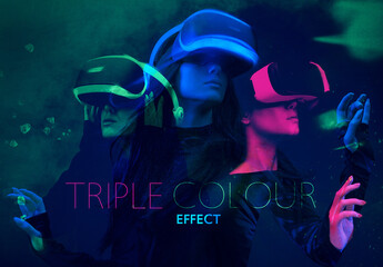 Triple Color Double Exposure Effect Mockup