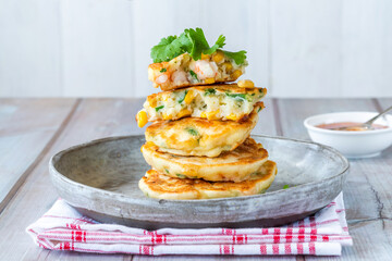 Prawn and sweetcorn fritters with sweet chilli sauce