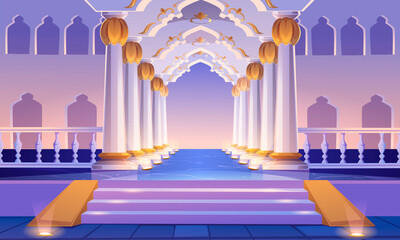 Castle corridor with staircase, columns and arches. Palace entrance with pillars and illumination. Medieval building architecture design, empty ball room, hall interior. Cartoon vector illustration Fotomurales