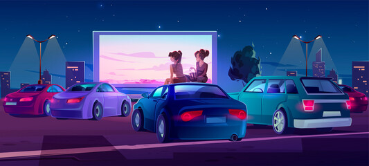 Fotobehang Cartoon cars Outdoor cinema, drive-in movie theater with cars on open air parking. Vector cartoon illustration of summer night city with girls sitting on automobile roof and watching film on big screen