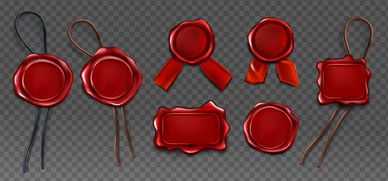 Red wax seal stamp approval sealing. Quality guarantee blank retro postal label with ribbon and rope.Royal insignia or signature for letter or document secure and verify, Realistic 3d vector icons set