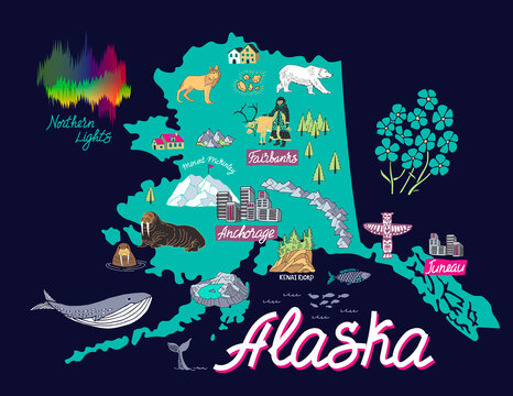 Illustrated map of  Alaska, USA. Travel and attractions.