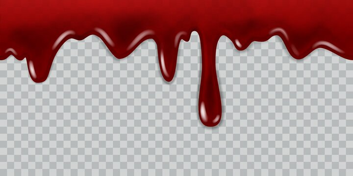Dripping blood. Current red liquid, paint flow and drops for halloween, vampire game, medicine flyer or web banner realistic vector template