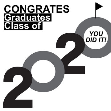 Congrats Graduates Class of 2020. Template for graduation design, party, high school or college graduate, yearbook,Vector illustration EPS.10