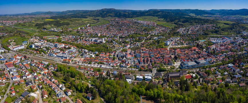Aerial view of the city Balingen in Germany on a sunny day in Spring during the coronavirus lockdown.