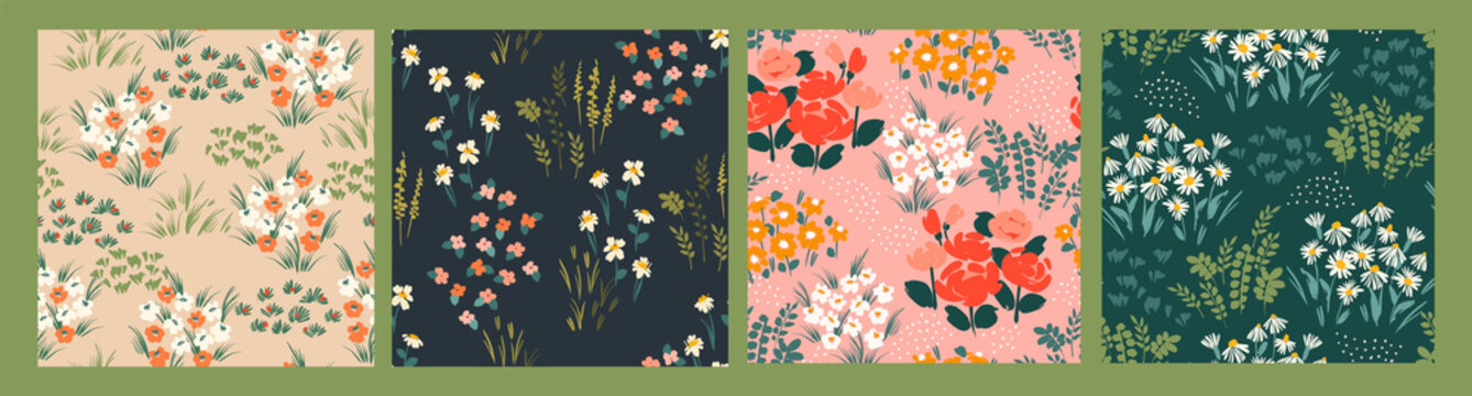 Floral abstract seamless patterns. Vector design for different surfases.
