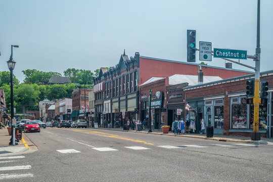Stillwater, Minnesota/USA-06/03/19 Downtown main road with stores and restaurants
